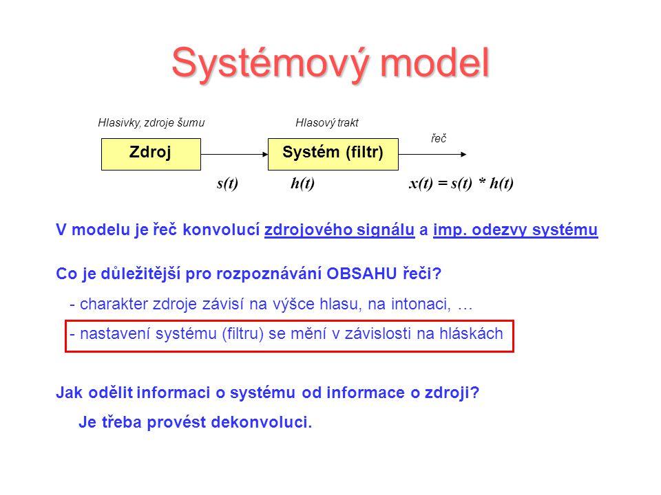 Systémový model Zdroj Systém (filtr) s(t) h(t) x(t) = s(t) * h(t)