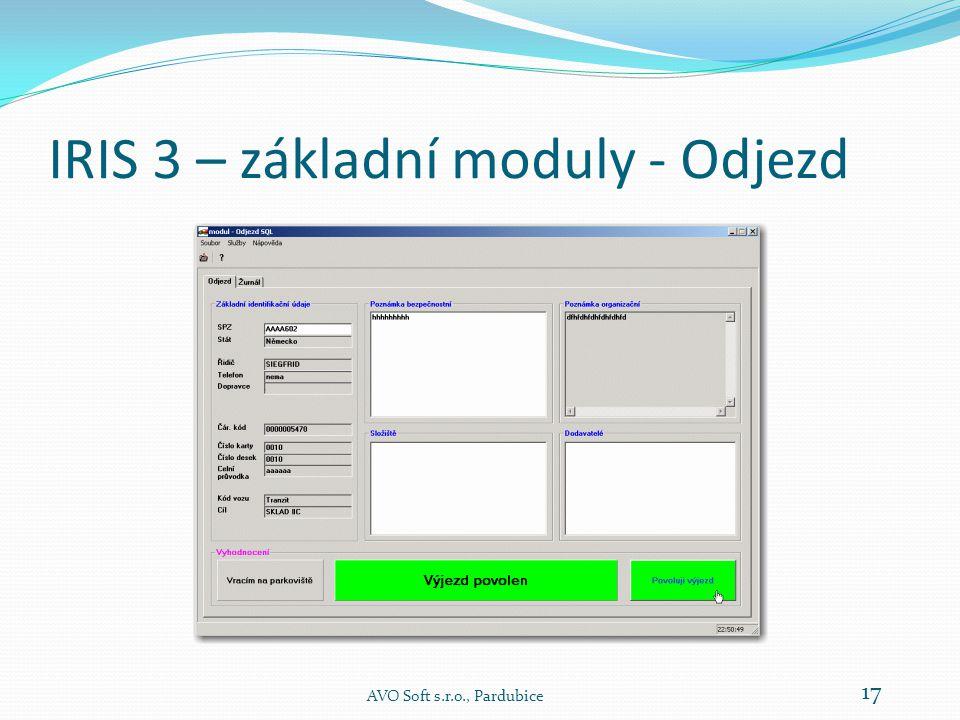 IRIS 3 – základní moduly - Odjezd