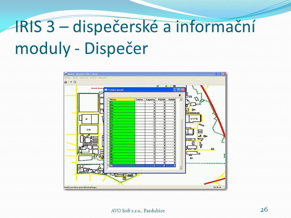IRIS 3 – dispečerské a informační moduly - Dispečer