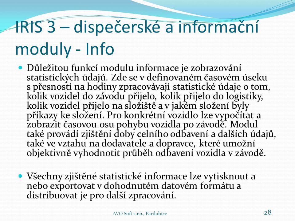 IRIS 3 – dispečerské a informační moduly - Info