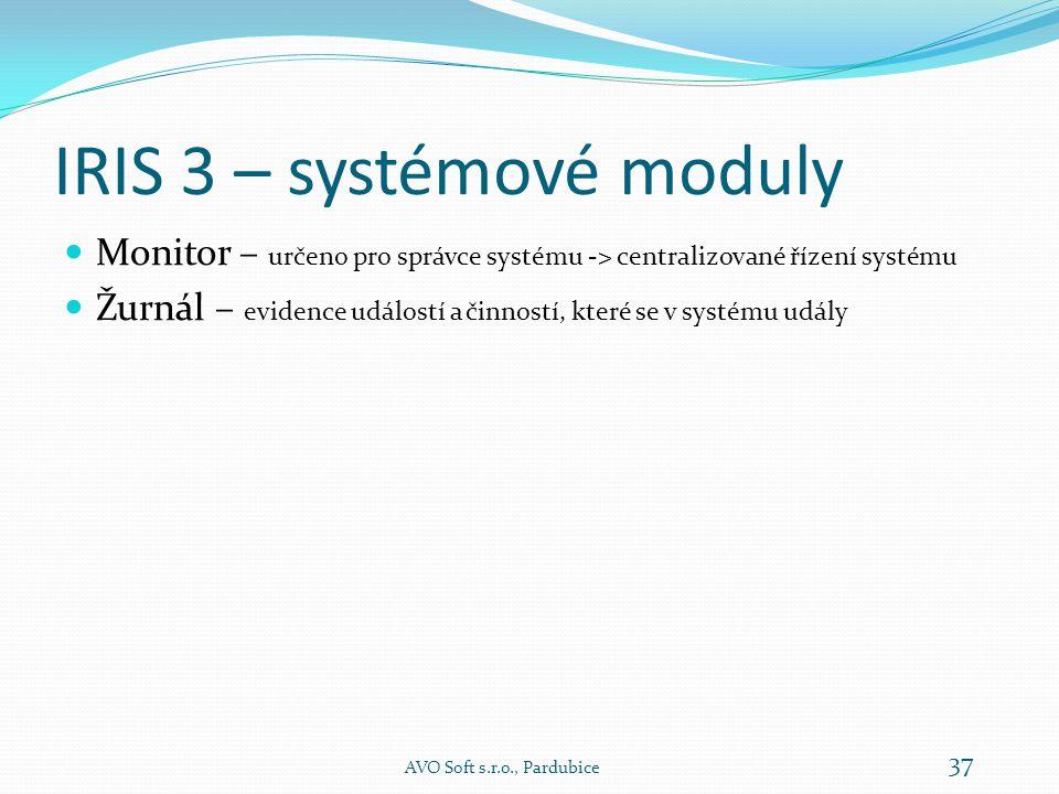 IRIS 3 – systémové moduly