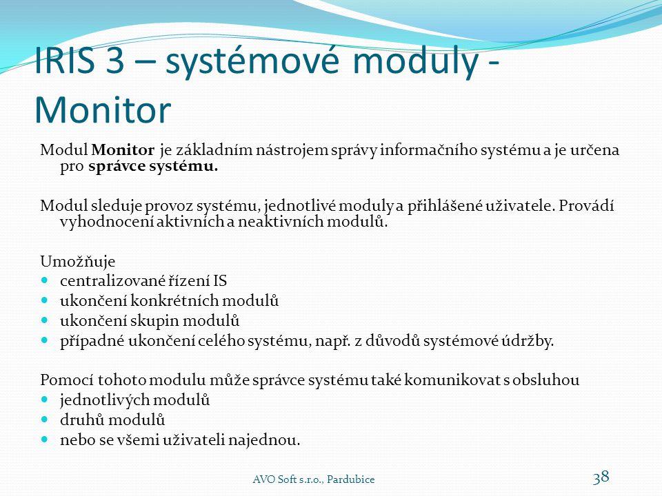 IRIS 3 – systémové moduly - Monitor