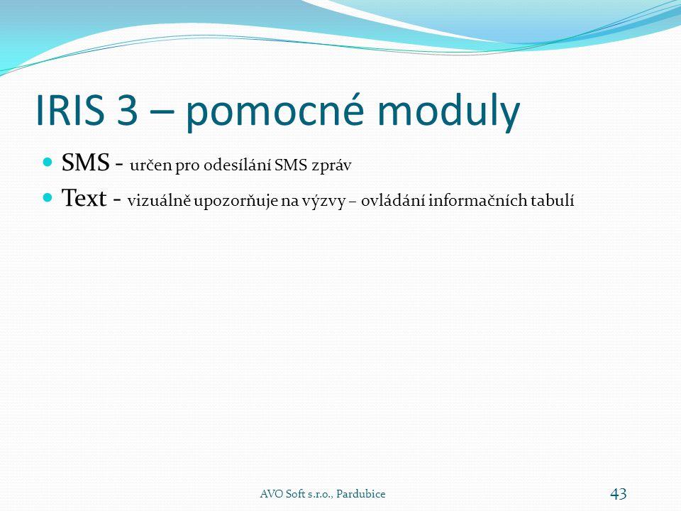 IRIS 3 – pomocné moduly SMS - určen pro odesílání SMS zpráv