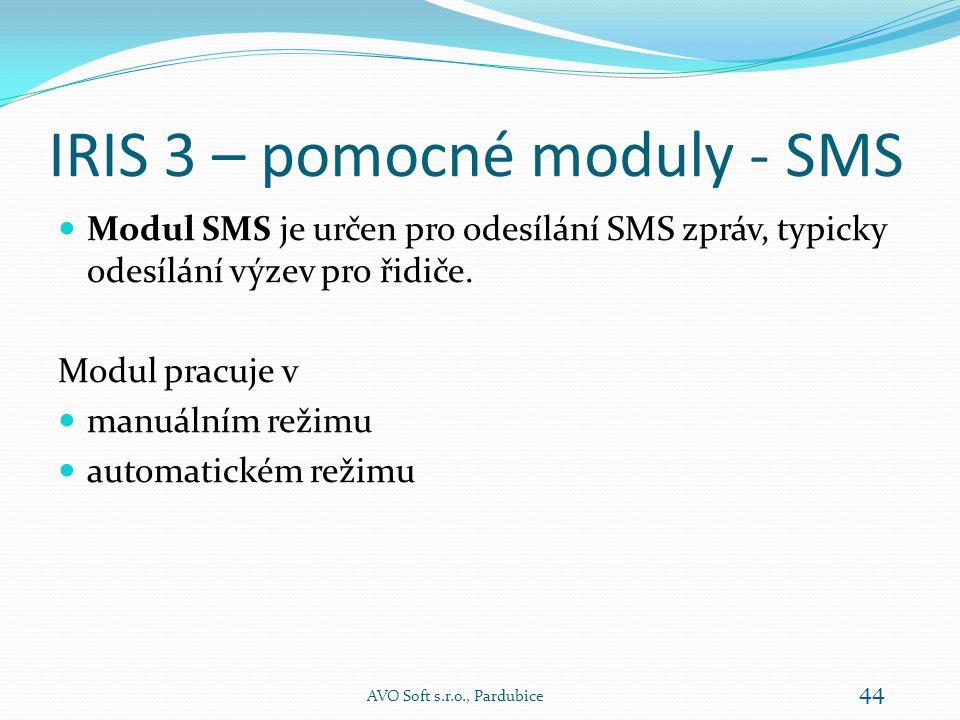 IRIS 3 – pomocné moduly - SMS