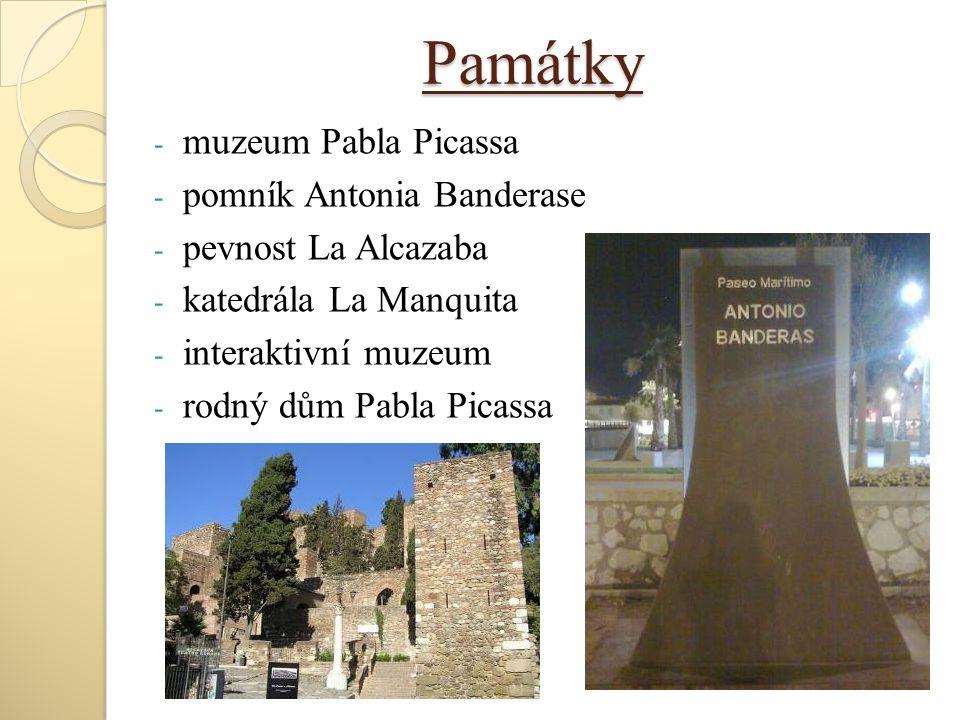 Památky muzeum Pabla Picassa pomník Antonia Banderase