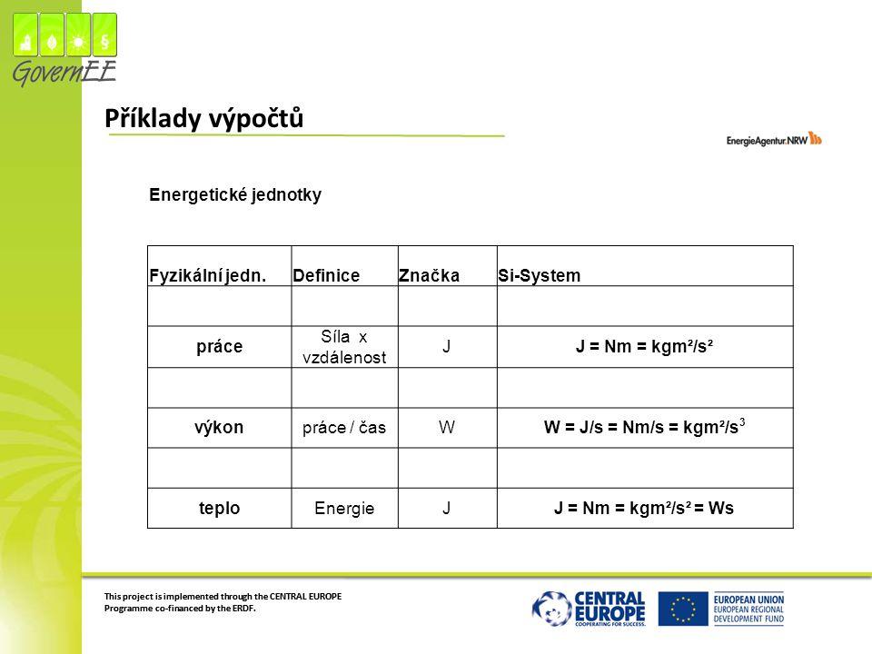 Příklady výpočtů Energetické jednotky Fyzikální jedn. Definice Značka