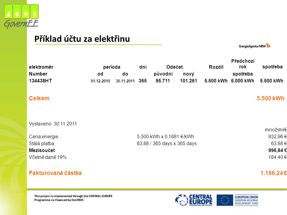 Příklad účtu za elektřinu
