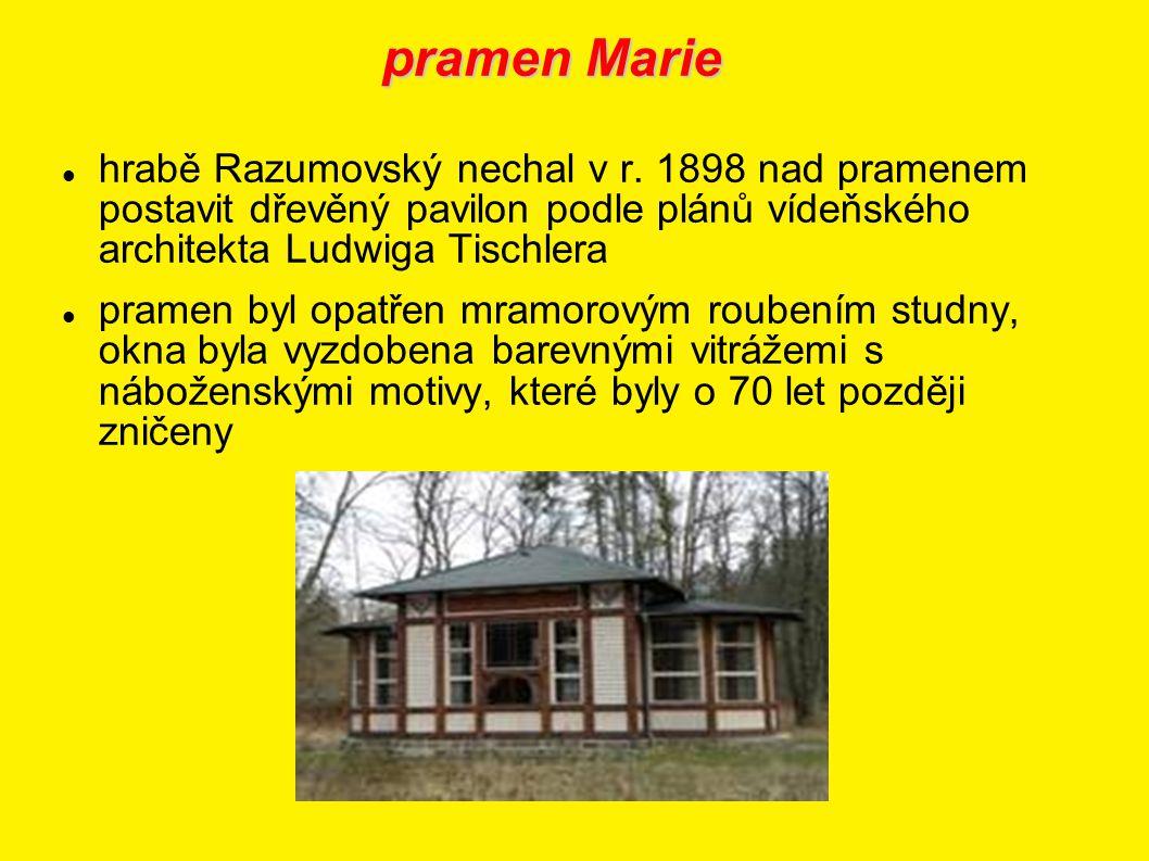 pramen Marie hrabě Razumovský nechal v r. 1898 nad pramenem postavit dřevěný pavilon podle plánů vídeňského architekta Ludwiga Tischlera.