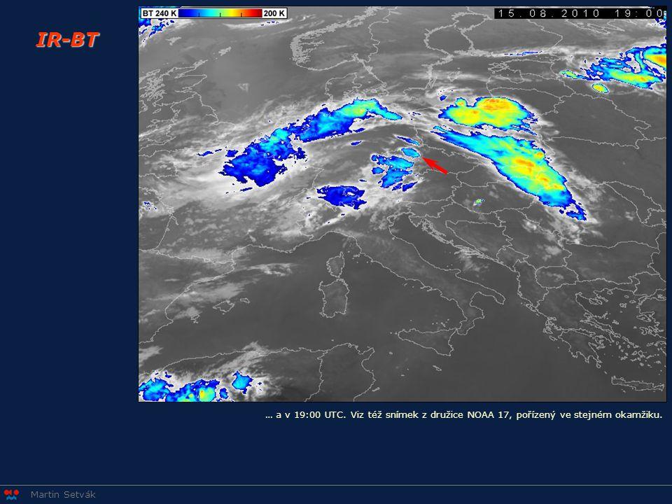 IR-BT … a v 19:00 UTC. Viz též snímek z družice NOAA 17, pořízený ve stejném okamžiku.