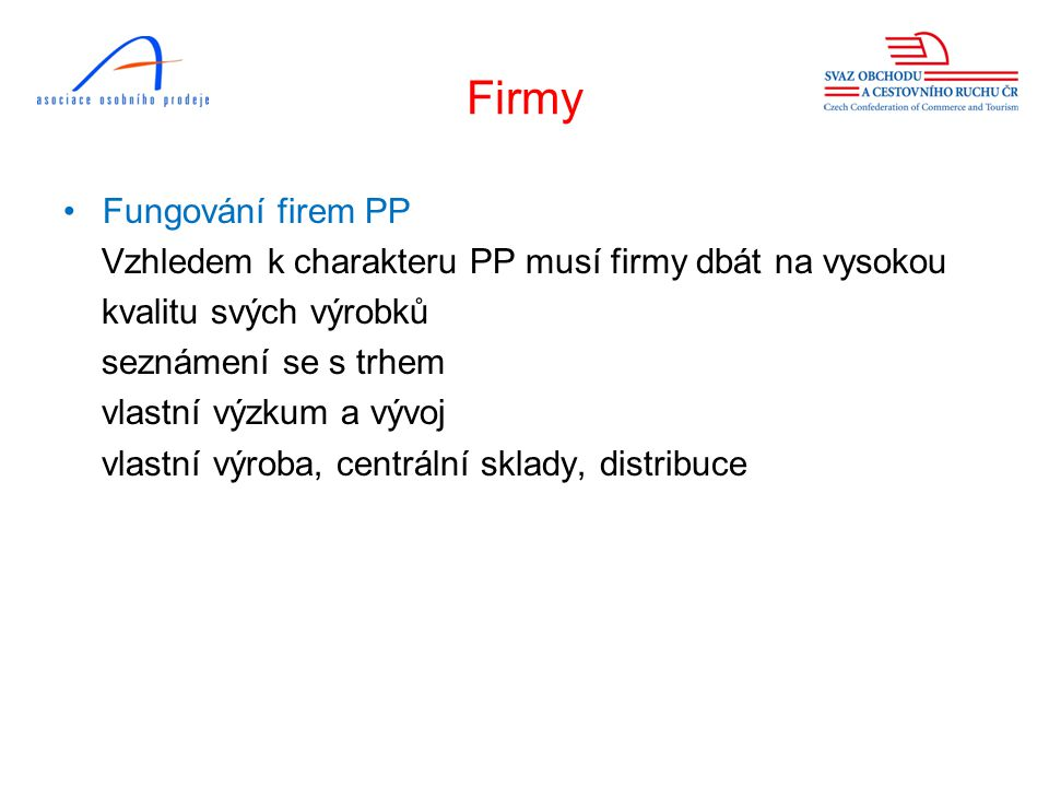 Firmy Fungování firem PP