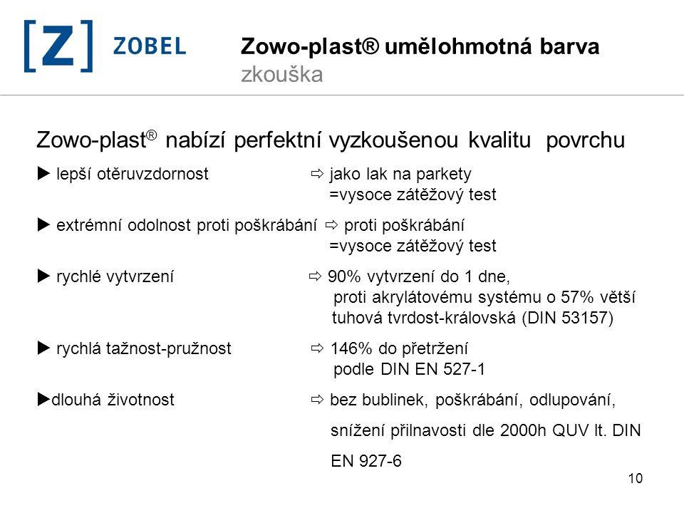 Zowo-plast® umělohmotná barva zkouška