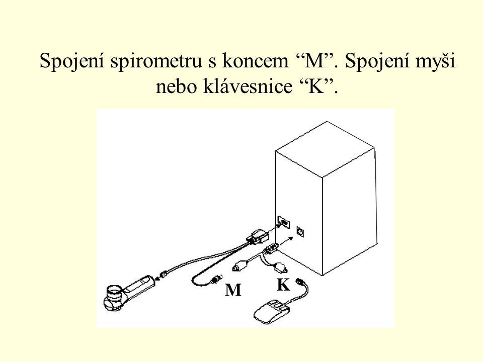 Spojení spirometru s koncem M . Spojení myši nebo klávesnice K .
