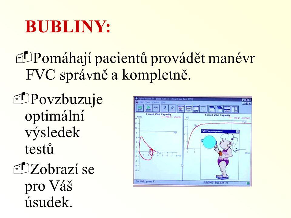BUBLINY: Pomáhají pacientů provádět manévr FVC správně a kompletně.