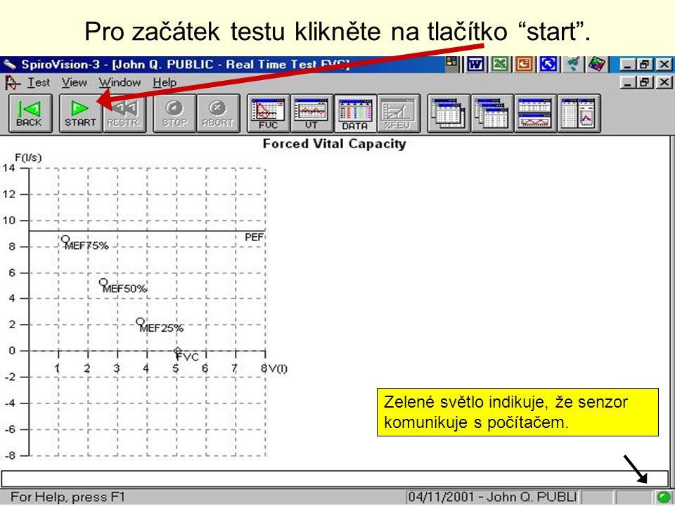 Pro začátek testu klikněte na tlačítko start .