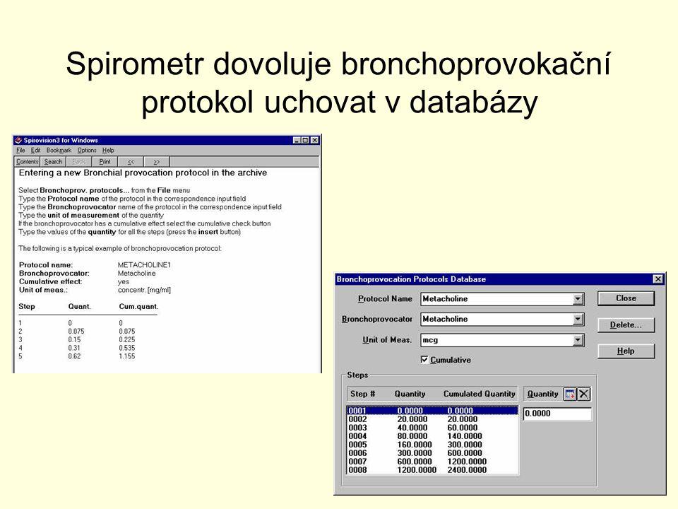 Spirometr dovoluje bronchoprovokační protokol uchovat v databázy