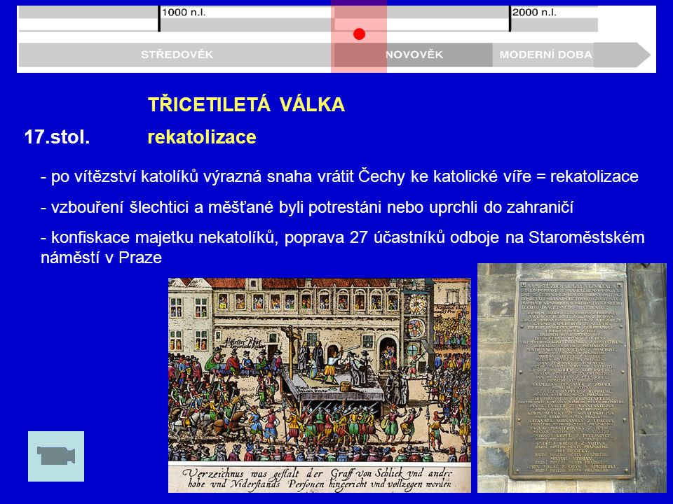 TŘICETILETÁ VÁLKA 17.stol. rekatolizace