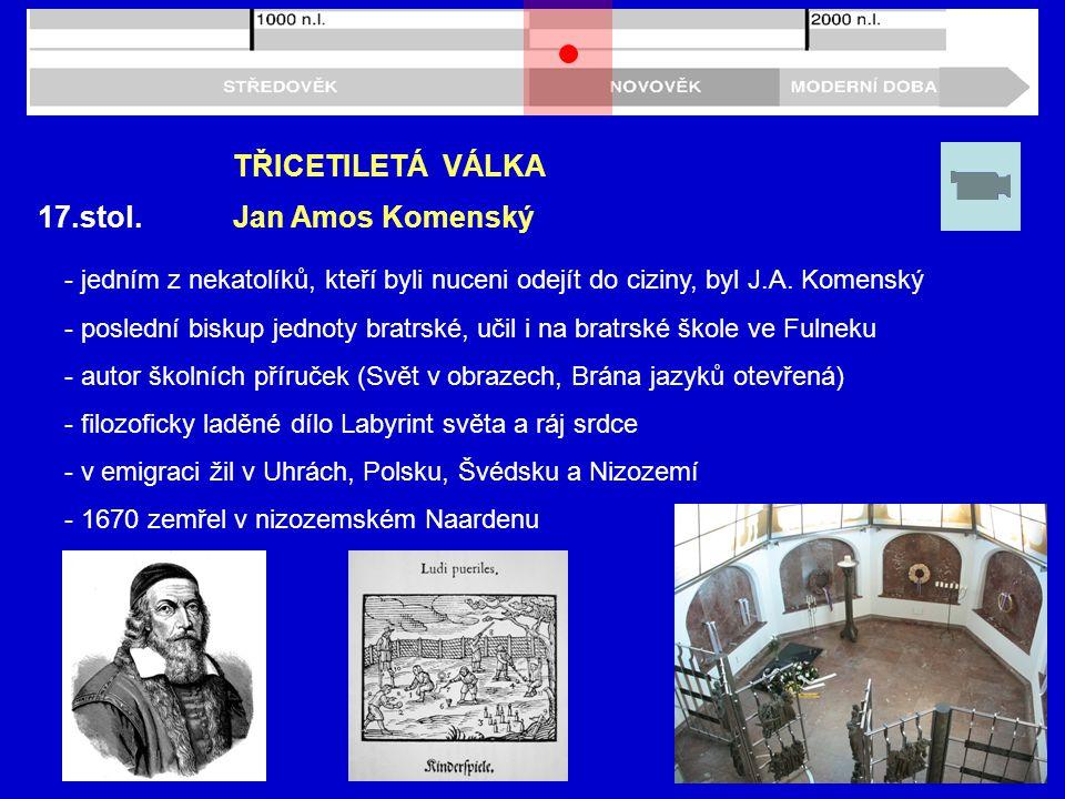 TŘICETILETÁ VÁLKA 17.stol. Jan Amos Komenský