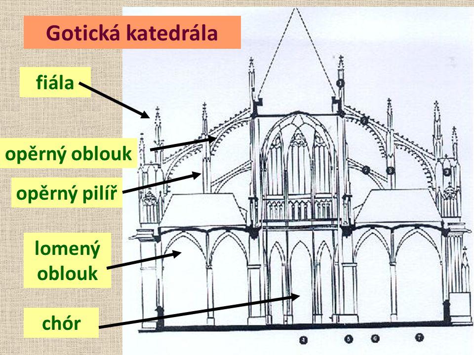 Gotická katedrála fiála opěrný oblouk opěrný pilíř lomený oblouk chór