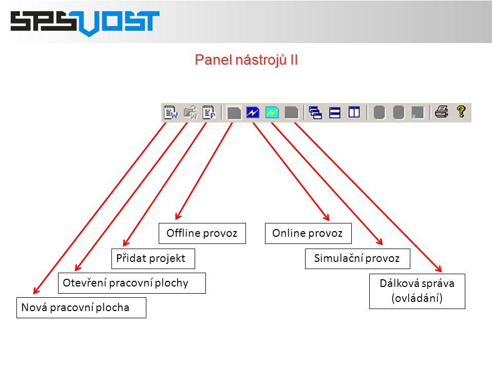 Panel nástrojů II Offline provoz Online provoz Přidat projekt