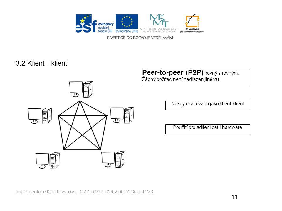 Peer-to-peer (P2P) rovný s rovným. Žádný počítač není nadřazen jinému.