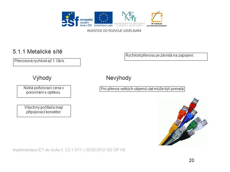 5.1.1 Metalické sítě Výhody Nevýhody