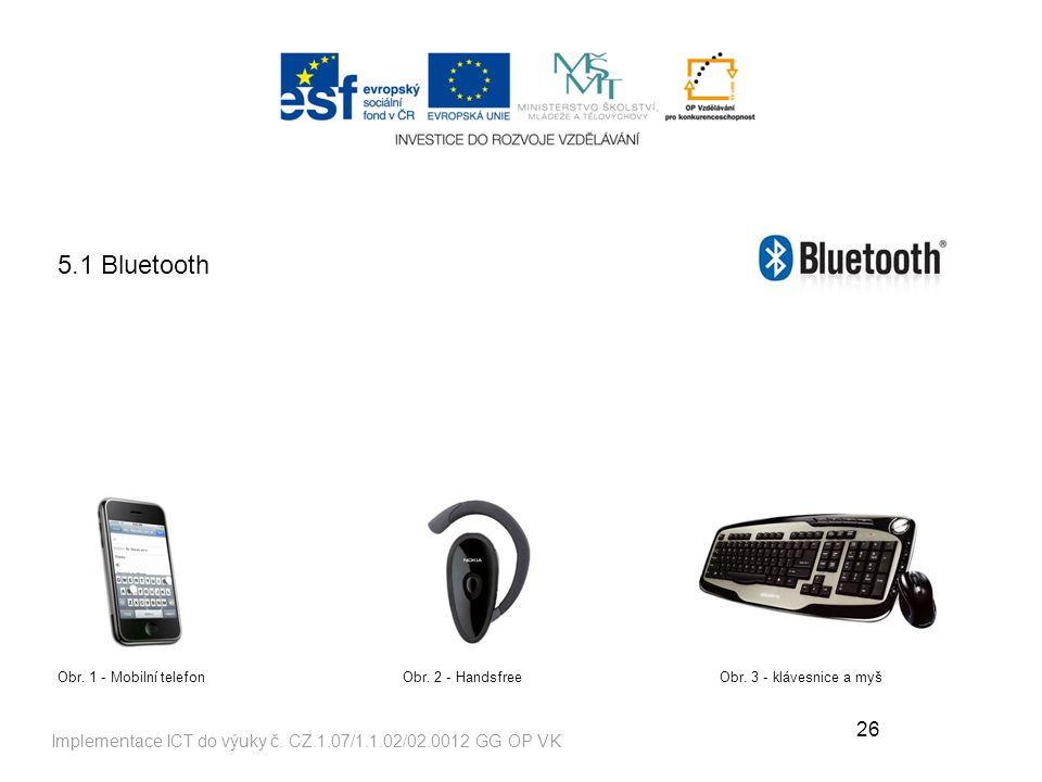 5.1 Bluetooth Obr. 1 - Mobilní telefon. Obr. 2 - Handsfree. Obr. 3 - klávesnice a myš.
