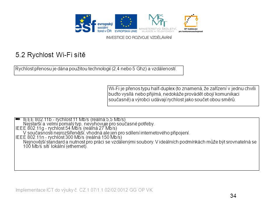 5.2 Rychlost Wi-Fi sítě Rychlost přenosu je dána použitou technologií (2,4 nebo 5 Ghz) a vzdáleností.