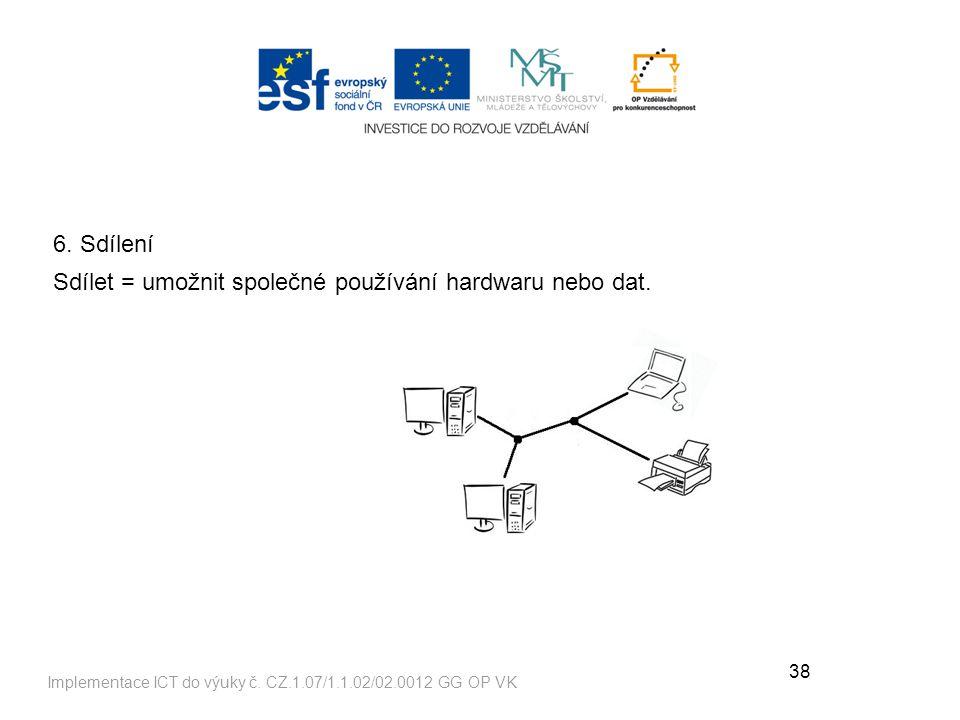 Sdílet = umožnit společné používání hardwaru nebo dat.