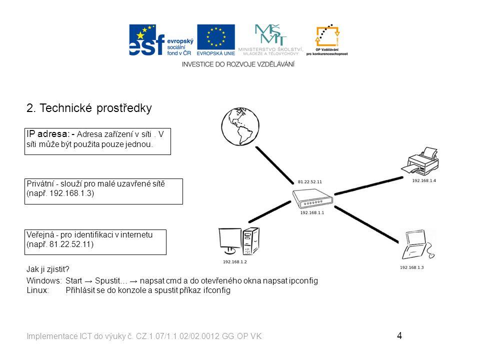 2. Technické prostředky IP adresa: - Adresa zařízení v síti . V síti může být použita pouze jednou.
