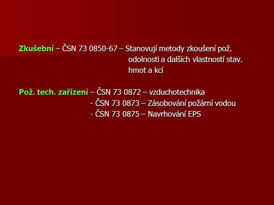 Zkušební – ČSN 73 0850-67 – Stanovují metody zkoušení pož.