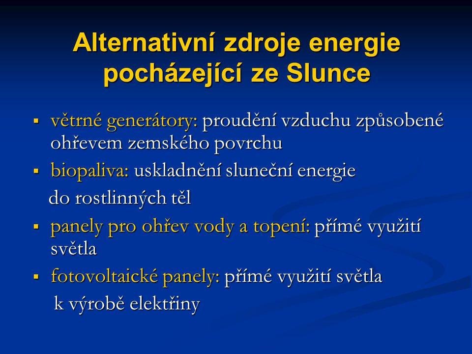 Alternativní zdroje energie pocházející ze Slunce