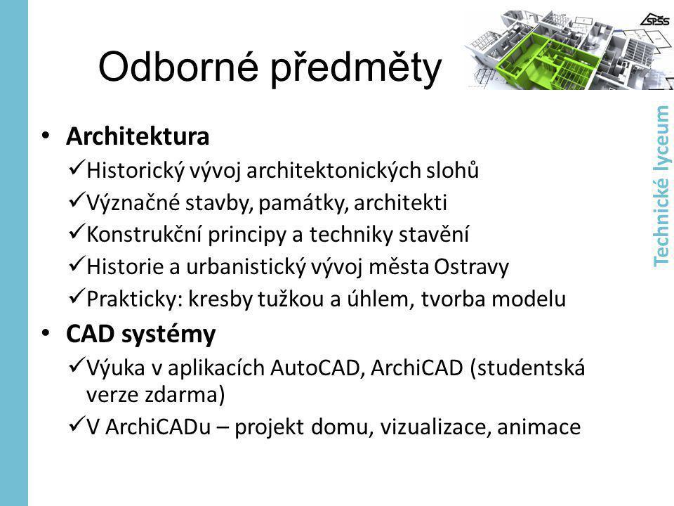 Odborné předměty Architektura CAD systémy