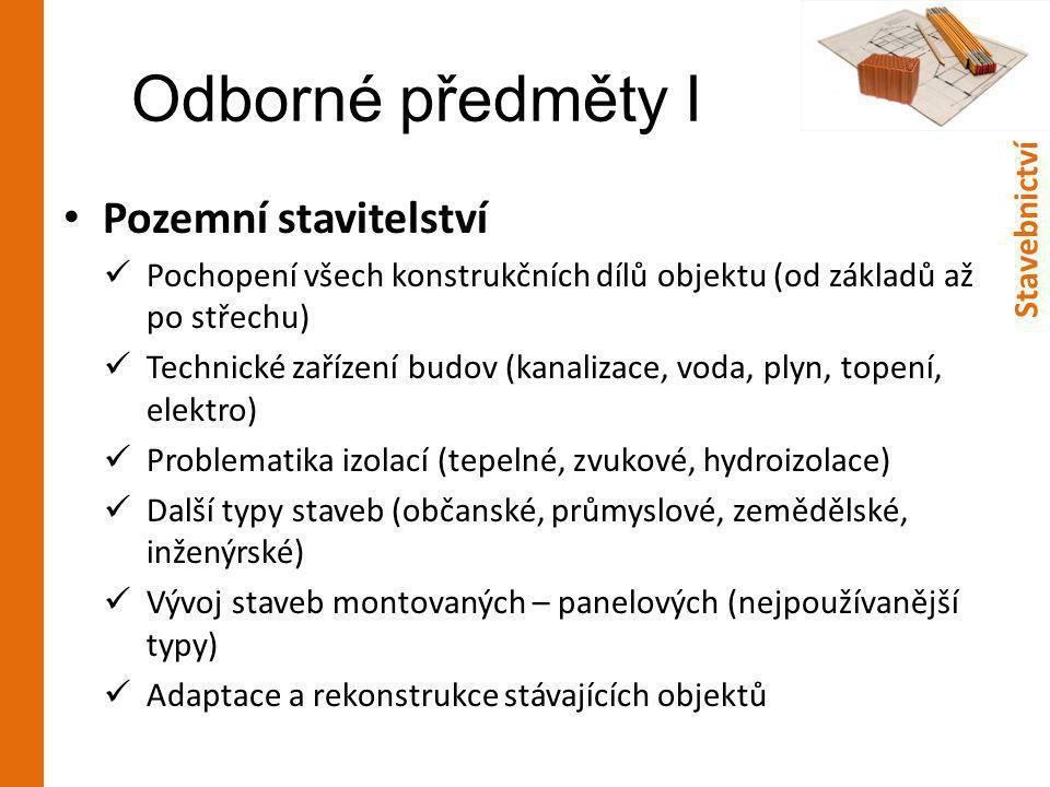 Odborné předměty I Pozemní stavitelství Stavebnictví