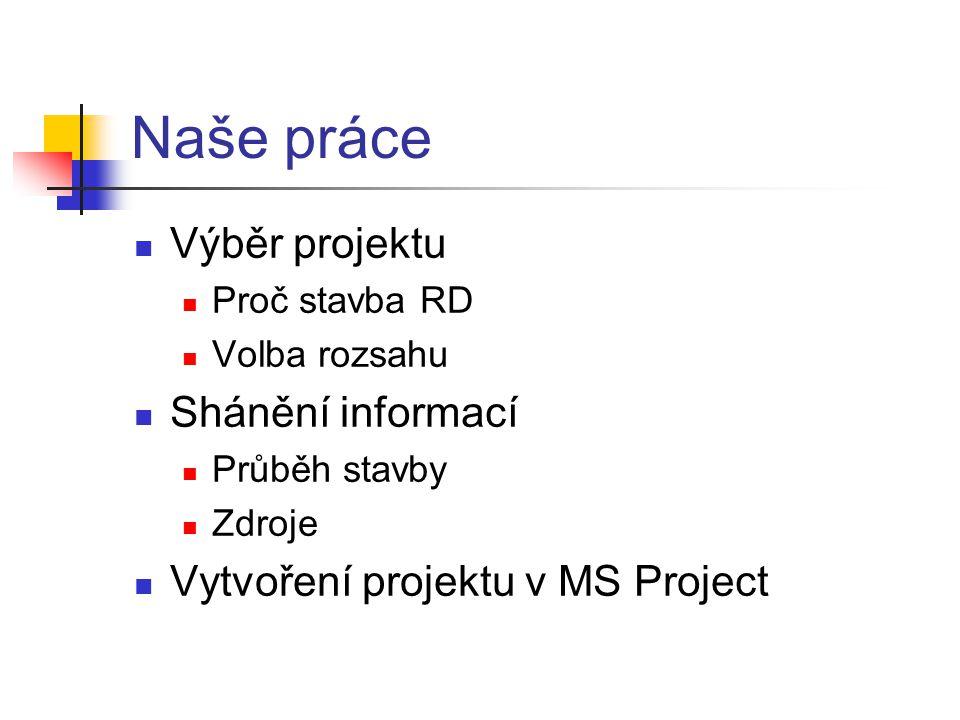 Naše práce Výběr projektu Shánění informací