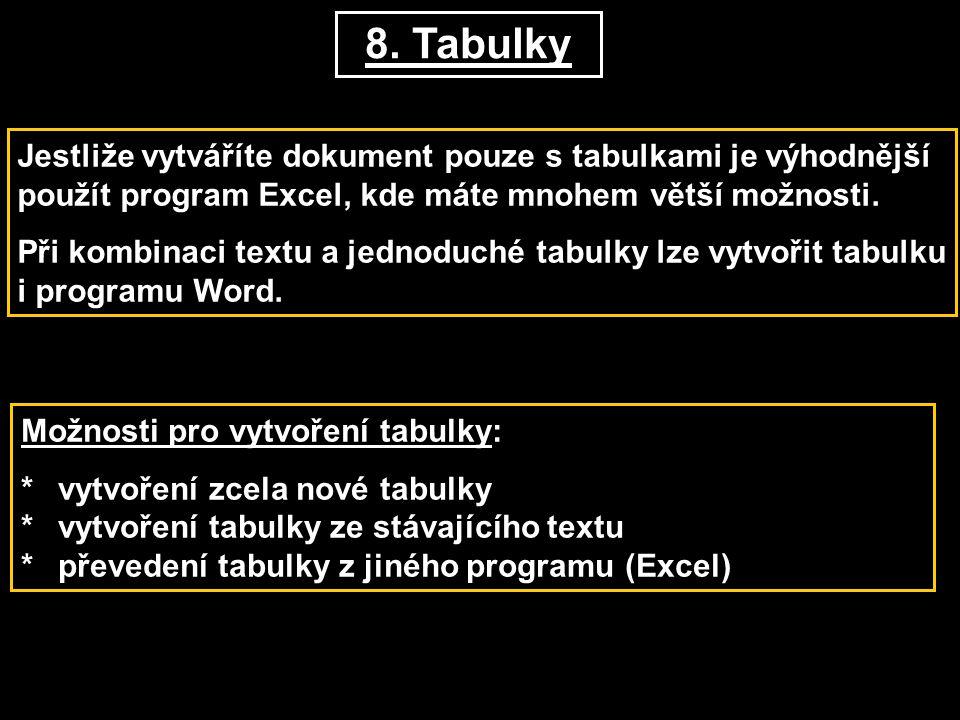 8. Tabulky Jestliže vytváříte dokument pouze s tabulkami je výhodnější použít program Excel, kde máte mnohem větší možnosti.