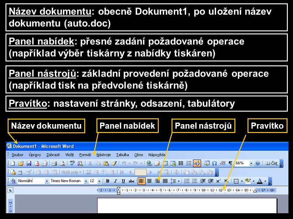 Pravítko: nastavení stránky, odsazení, tabulátory