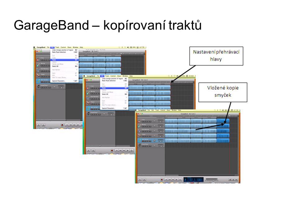 GarageBand – kopírovaní traktů