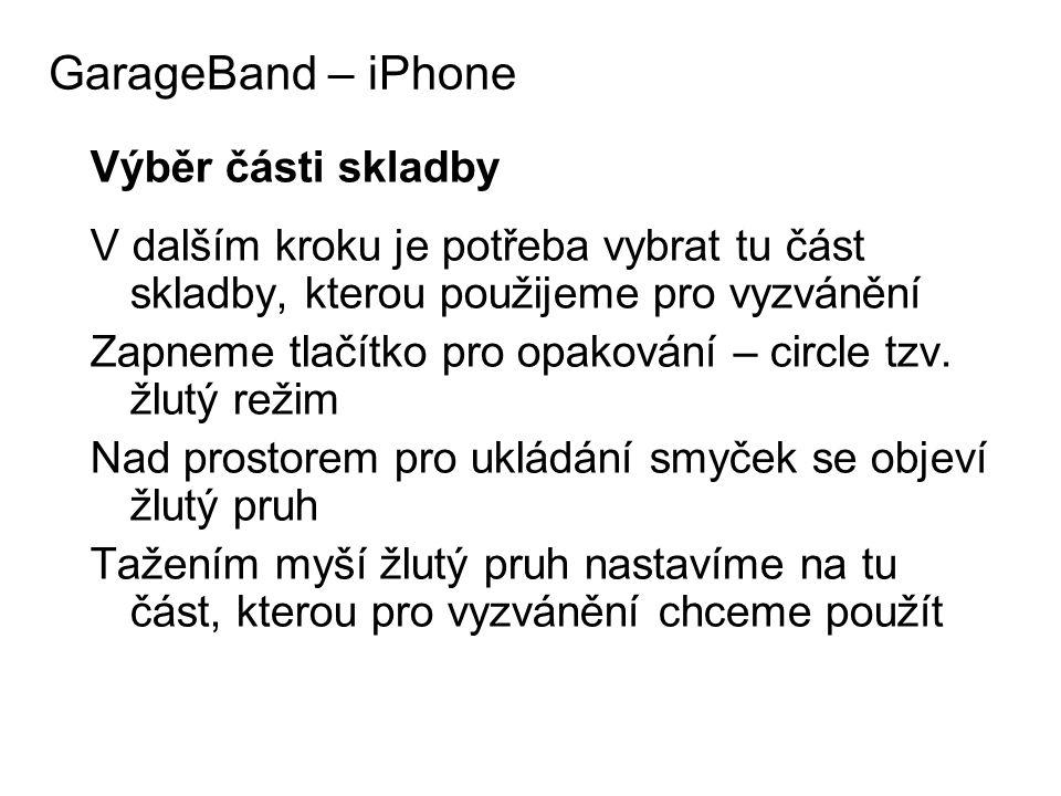 GarageBand – iPhone Výběr části skladby