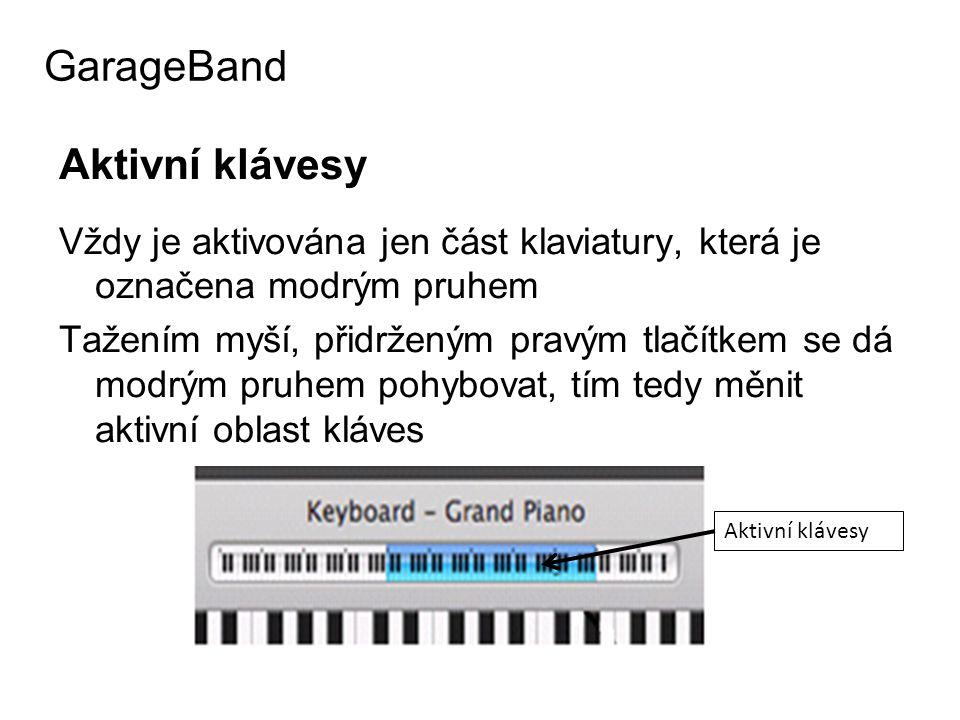 GarageBand Aktivní klávesy
