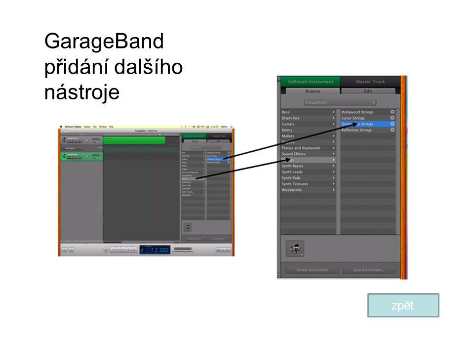 GarageBand přidání dalšího nástroje