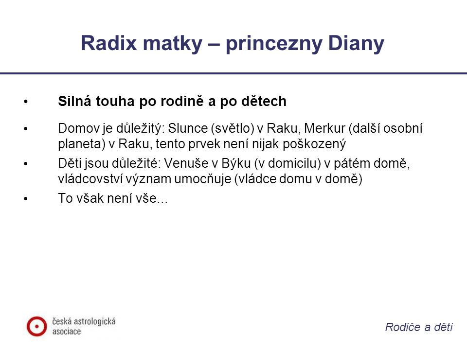 Radix matky – princezny Diany