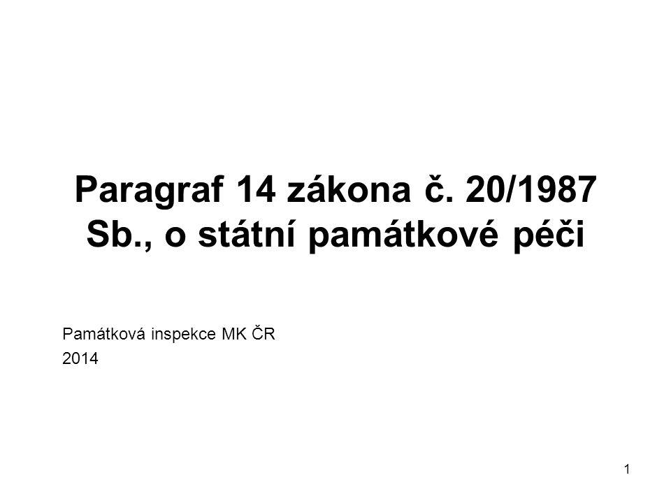 Paragraf 14 zákona č. 20/1987 Sb., o státní památkové péči