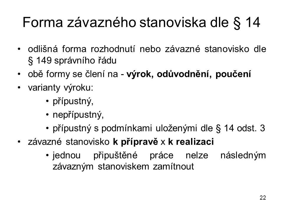 Forma závazného stanoviska dle § 14