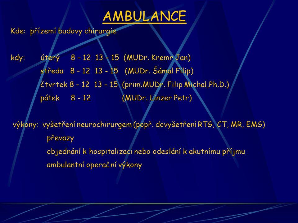 AMBULANCE Kde: přízemí budovy chirurgie