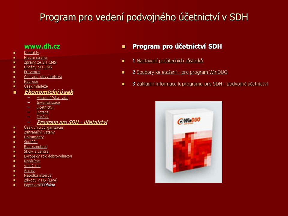 Program pro vedení podvojného účetnictví v SDH