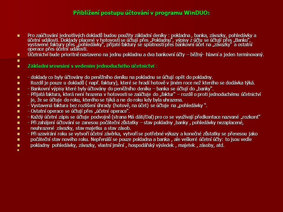 Přiblížení postupu účtování v programu WinDUO:
