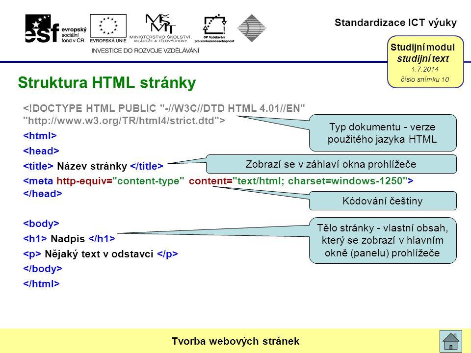 Struktura HTML stránky
