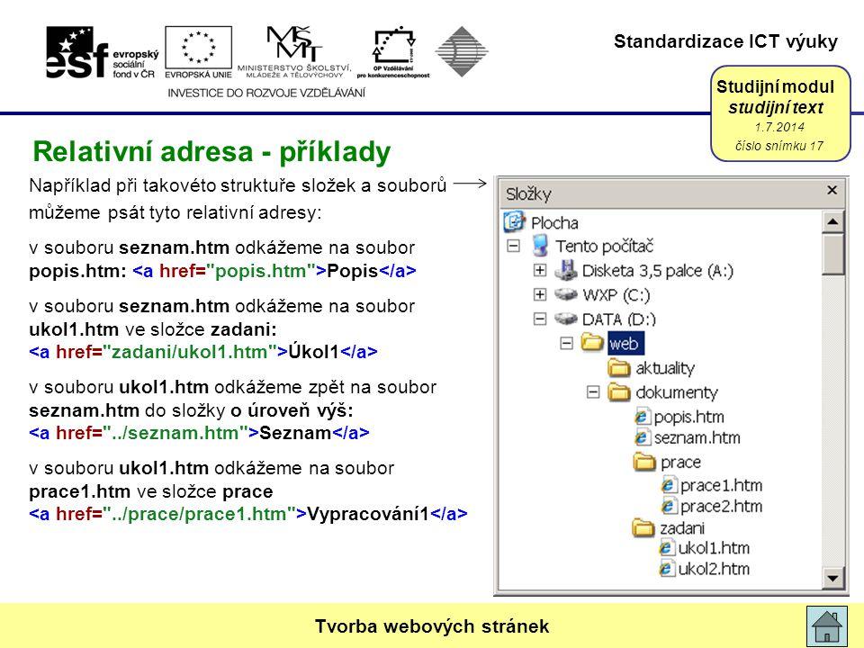 Relativní adresa - příklady