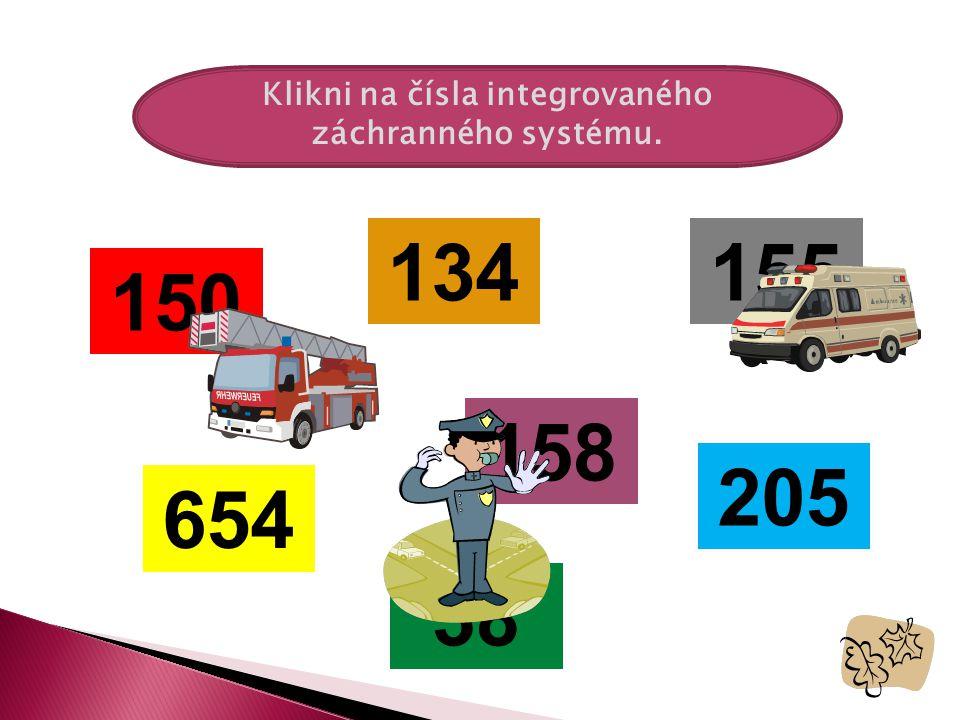 Klikni na čísla integrovaného záchranného systému.