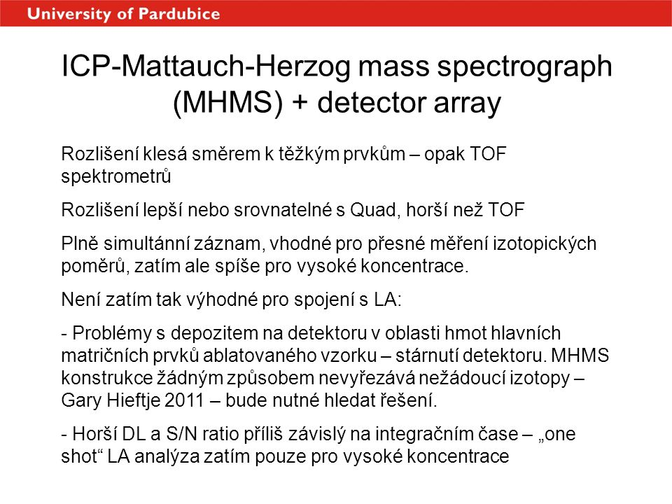ICP-Mattauch-Herzog mass spectrograph (MHMS) + detector array